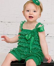 Dazzling Dolls Lace Onesie Style Dress & Head Band Set - Green