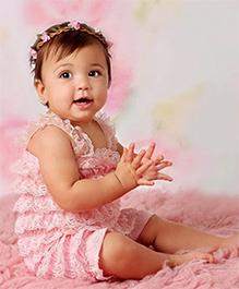 Dazzling Dolls Lace Onesie Style Dress & Head Band Set - Pink