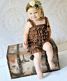 Dazzling Dolls Lace Onesie Style Dress & Head Band Set - Red