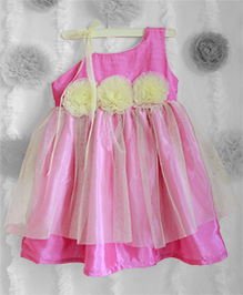Many Frocks One Shoulder Frilled Dress With Flower Applique - Ultra Pink & Light Yellow