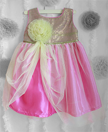 Many Frocks Shimmer Flower Applique Frilled Dress - Ultra Pink & Light Yellow