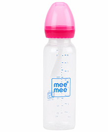 Mee Mee Polypropylene Baby Feeding Bottle With Spoon Pink - 250 Ml