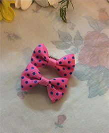 Angel Closet Polka Dots Hair Clips Pack Of 2 - Dark Pink