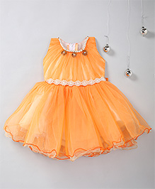 Aarika Party Pearl Embellished Frock With Necklace Detail - Orange
