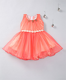 Aarika Party Pearl Embellished Frock With Necklace Detail - Peach