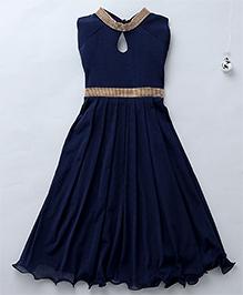 Aarika Keyhole Neck Diamond Studded Party Dress - Dark Blue