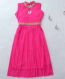 Aarika Keyhole Neck Diamond Studded Party Dress - Pink