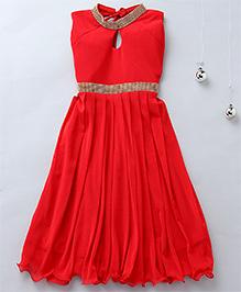 Aarika Keyhole Neck Diamond Studded Party Dress - Red
