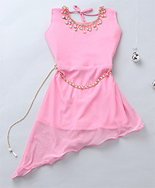 Aarika Party Wear Gown With Pearl Necklace Detail - Pink