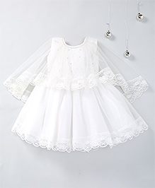 Aarika Net Embellished Frock With Princess Cape - White