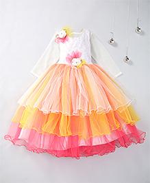 Aarika Flower Applique Layered Party Wear Gown - Peach