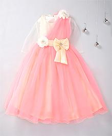 Aarika Bow & Flower Applique Party Wear Gown - Peach