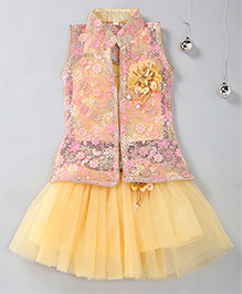 Aarika Party Wear Skirt & Top Set With Embroidered Jacket - Fawn