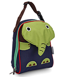 My Milestones Toddler Kids Lunch Bag Elephant Design Navy Green - 9 Inch