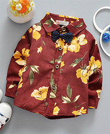 Superfie Floral Mixprint Shirt For Kids - Maroon