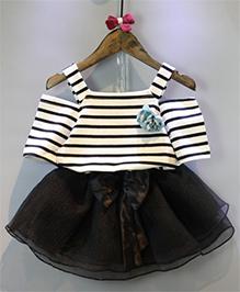 Superfie Cold Shoulder Top & Skirt Set - White & Black