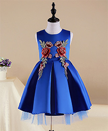 Pre Order - Mauve Collection Fit N Flare Inverted Box Pleat Patch Work Dress -Blue
