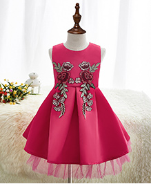 Pre Order - Mauve Collection Fit N Flare Inverted Box Pleat Patch Work Dress -Pink