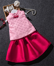 Pre Order - Mauve Collection Cute Top With Floral Applique & Skirt - Pink