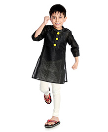 Little Pockets Store Set Of Churidar & Kurta With Contrast Button - Black & White