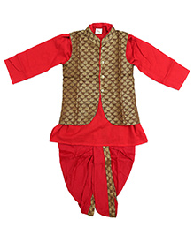 Little Pockets Store Set Of Dhoti & Kurta With Printed Nehru Jacket - Brown & Red
