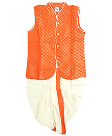 Little Pockets Store Jacket & Dhoti With Contrast Border - Orange & White