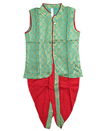 Little Pockets Store Jacket & Dhoti Set With Contrast Border - Green & Red
