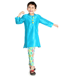 Little Pockets Store Set Of Kurta & Multiprint Pajama - Blue