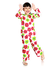 Little Pockets Store Floral Printed Night Suit - Multicolor