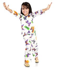 Little Pockets Store Butterfly Print Night Suit - White & Purple