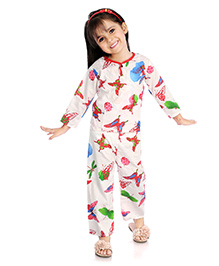 Little Pockets Store Butterfly & Bed Bug Print Night Suit - White & Pink