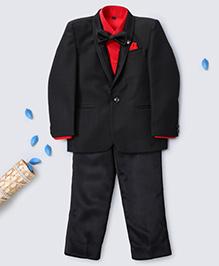 Prinz Self Checks Tuxedo With Bow Tie Pant & Pocket Square - Black