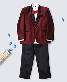 Prinz Jacquard Tuxedo Suit With Shirt Pant Bow & Pocket Square - Maroon
