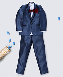 Prinz Coat With Bow Tie Pant & Pocket Square - Blue