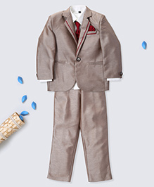 Prinz Jacquard Tuxedo Suit With Shirt Pant Tie & Pocket Square - Fawn Grey
