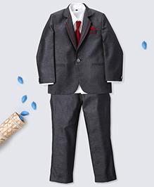 Prinz Jacquard Tuxedo Suit With Shirt Pant Tie & Pocket Square - Charcoal Grey