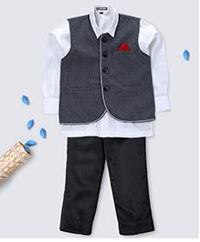 Prinz Vest Collar & Pocket Square Shirt & Pant - Grey