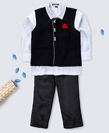 Prinz Polka Dot Vest With Pocket Square Shirt & Pant - Black