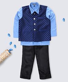 Prinz Checkered Vest With Shirt Pocket Square & Pant - Blue