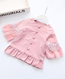 Pre Order - Awabox Lace Flower Peplum Top - Pink