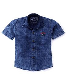 Jash Kids Half Sleeves Denim Shirt Checks Pattern - Dark Blue