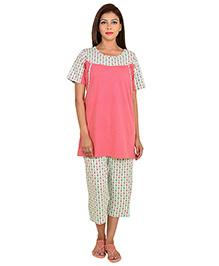 9teenAGAIN Half Sleeves Maternity Night Suit - Pink Green