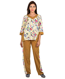 9teenAGAIN Three Fourth Sleeves Maternity Night Suit Floral Print - Mustard