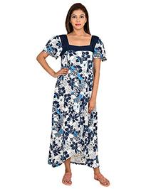 9teenAGAIN Half Sleeves Floral Printed Nursing Nighty - Navy