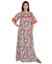 9teenAGAIN Half Sleeves Floral Printed Overlap Nursing Nighty - Brown