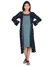 9teenAGAIN Full Sleeves Floral Printed Maternity Dress - Navy