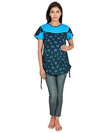 9teenAGAIN Half Sleeves Maternity Printed T-Shirt - Navy