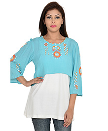 9teenAgain Three Fourth Sleeves Maternity Nursing Top Embroidered - Blue & White