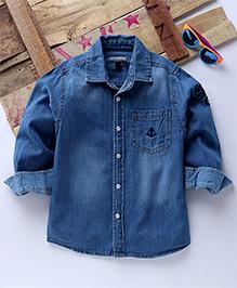 Tonyboy Full Sleeves Casual Anchor Embroidered Denim Shirt - Blue