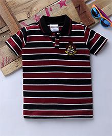 Tonyboy Half Sleeves Horizontal Striped Polo T-Shirt - Maroon